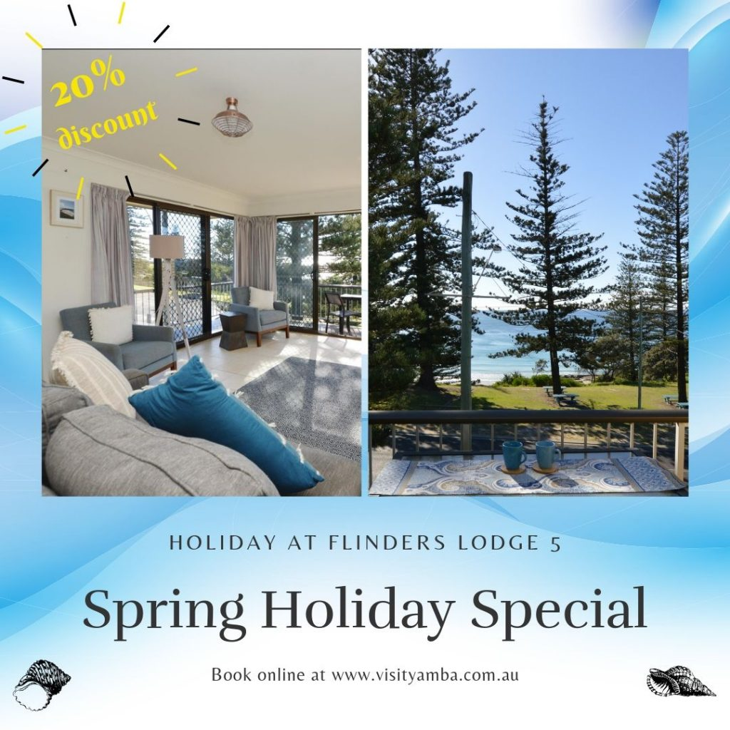 Take time out these Spring Holidays at Flinders Lodge 5 Yamba. Special price, over 20% discount is on offer for last minute bookings. %